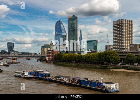 London / UK - September 15, 2018: View of the south eastern London skyline from Waterloo bridge. - Stock Photo