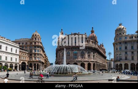 Genoa / Italy - May 29, 2018: View of Piazza Raffaele de Ferrari, with Palazzo dell' Accademia Ligustica on the left and Palazzo della Nuova Borsa. - Stock Photo