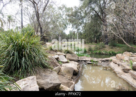 Park scenery in Western Plains Zoo, Dubbo NSW Australia. - Stock Photo
