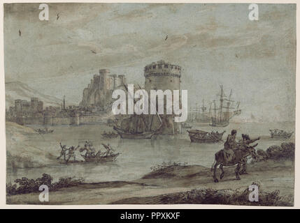 Figures in a Landscape before a Harbor; Claude Lorrain, Claude Gellée, French, 1604 or 1605 ? - 1682, France; late 1630s; Pen - Stock Photo