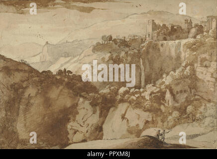 View of Tivoli, recto and verso, Claude Lorrain, Claude Gellée, French, 1604 or 1605 ? - 1682, France; 1640; Black chalk with - Stock Photo
