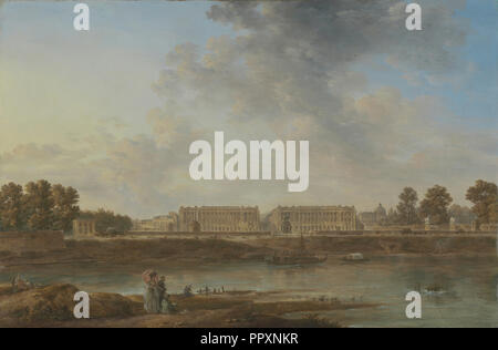 A View of Place Louis XV; Attributed to Alexandre-Jean Noël, French, 1752 - 1834, about 1775 - 1787; Oil on canvas - Stock Photo