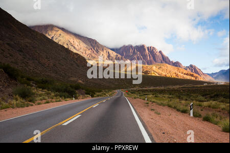 View from highway RN 7 to Andes mountains in summer day. Andes, Argentina, Chile - Stock Photo