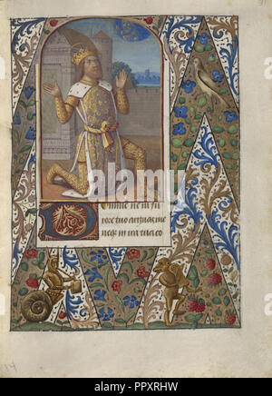 King David in Prayer; Jean Bourdichon, French, 1457 - 1521, Provence, France; about 1480 - 1490; Tempera colors, gold leaf - Stock Photo