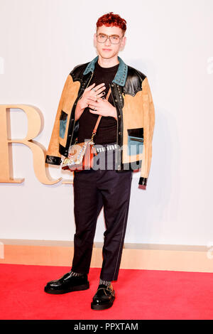 London, UK. 27th September, 2018. Olly Alexander at  A STAR IS BORN UK Premiere on Thursday 27 September 2018 held at The Vue Cinema, Leicester Square, London. Pictured: Olly Alexander. Picture by Julie Edwards. Credit: Julie Edwards/Alamy Live News - Stock Photo