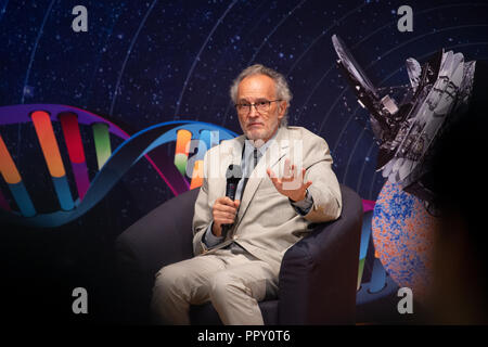 Hong Kong, . 28th Sep, 2018. Shaw Laureate in Astronomy .Dr Jean-Loup Puget (Researcher, Institut d'Astrophysique Spatiale of Centre National de la Recherche Scientifique and Université Paris-Saclay, France).2018 Shaw Laureates give a public lecture at the Hong Kong Science Museum, Tsim Sha Tsui, Kowloon. The Shaw Prize, which consists of three annual awards, namely the Prize in Astronomy, the Prize in Life Science and Medicine and the Prize in Mathematical Sciences is worth $1.2million USD to each winner. Credit: Jayne Russell/ZUMA Wire/Alamy Live News - Stock Photo