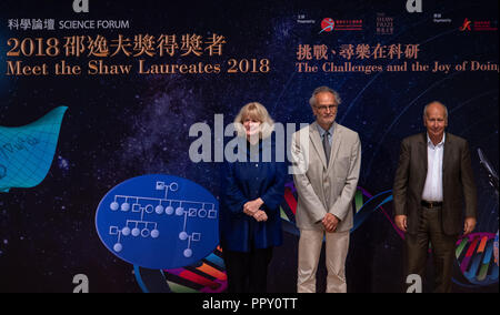Hong Kong, . 28th Sep, 2018. L. Professor Mary-Claire King, M. Dr Jean-Loup Puget and R.Professor Luis A Caffarelli .2018 Shaw Laureates give a public lecture at the Hong Kong Science Museum, Tsim Sha Tsui, Kowloon. The Shaw Prize, which consists of three annual awards, namely the Prize in Astronomy, the Prize in Life Science and Medicine and the Prize in Mathematical Sciences is worth $1.2million USD to each winner. Credit: Jayne Russell/ZUMA Wire/Alamy Live News - Stock Photo