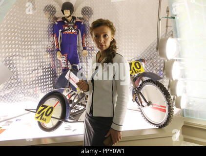 Moscow, Russia. 28th Sep, 2018. MOSCOW REGION, RUSSIA - SEPTEMBER 28, 2018: Russia's Presidential Commissioner for Children's Rights Anna Kuznetsova, visits the museum of the Russian Ministry of Sport. Vladimir Gerdo/TASS Credit: ITAR-TASS News Agency/Alamy Live News - Stock Photo