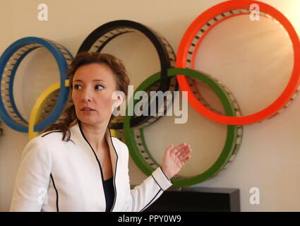 Moscow, Russia. 28th Sep, 2018. MOSCOW REGION, RUSSIA - SEPTEMBER 28, 2018: Russia's Presidential Commissioner for Children's Rights Anna Kuznetsova, visits the Russian Ministry of Sport. Vladimir Gerdo/TASS Credit: ITAR-TASS News Agency/Alamy Live News - Stock Photo