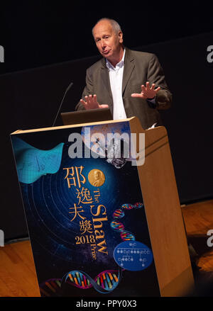 Hong Kong, . 28th Sep, 2018. Shaw Laureate in Mathematical Sciences .Italian Professor Luis A Caffarelli (Professor of Mathematics, University of Texas at Austin, United States) .2018 Shaw Laureates give a public lecture at the Hong Kong Science Museum, Tsim Sha Tsui, Kowloon. The Shaw Prize, which consists of three annual awards, namely the Prize in Astronomy, the Prize in Life Science and Medicine and the Prize in Mathematical Sciences is worth $1.2million USD to each winner. Credit: Jayne Russell/ZUMA Wire/Alamy Live News - Stock Photo