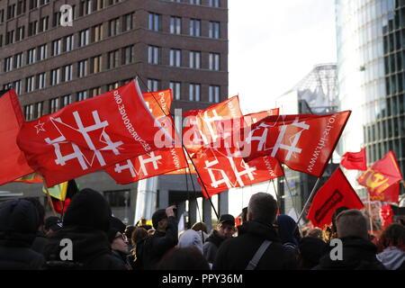 Berlin, Germany. 28th September 2018.  .Demonstration in Berlin Mitte 'Erdogan not welcome' from Potsdamer Platz to the Großen Stern. Credit: SAO Struck/Alamy Live News - Stock Photo