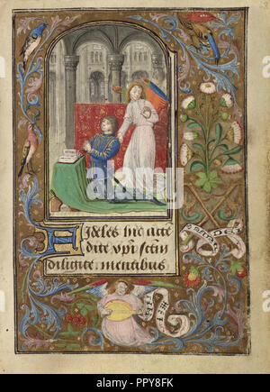 Charles the Bold Presented by an Angel; Lieven van Lathem, Flemish, about 1430 - 1493, Antwerp, illuminated, Belgium - Stock Photo