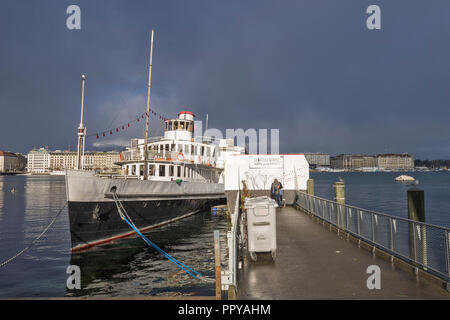 Geneva, Switzerland, historic boat on a stormy day - Stock Photo