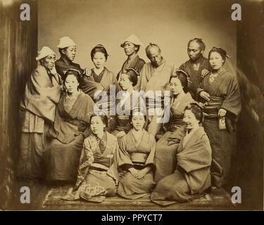 Japanese Family; Felice Beato, 1832 - 1909, about 1862; Albumen silver print - Stock Photo