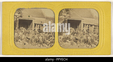 Group of firemen posed outside in front of station with wagon; Jules Marinier, French, active 1860s, 1855 - 1865; Hand-colored - Stock Photo