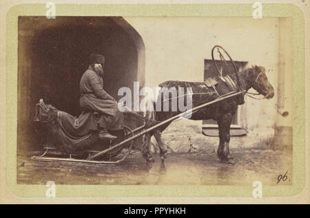 Man driving horse-drawn sleigh; William Carrick, Scottish, 1827 - 1878, Russia; about 1860 - 1870; Albumen silver print - Stock Photo