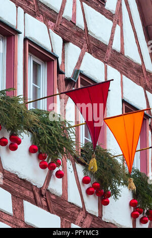 Nuremberg, Germany Christmas decorated half-timbered houses in Bavaria - Stock Photo