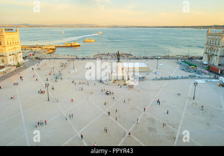 Aerial view of Commercial square. Lisbon, Portugal