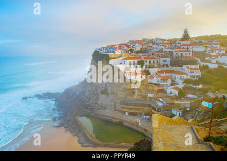 VIew of Azenha do Mar at sunsrise. Portugal - Stock Photo