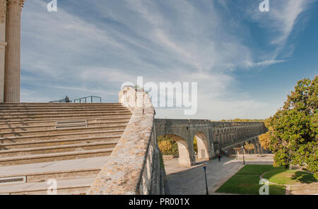 The château d'eau (water tower) at the highest point of the city of Montpellier, once received its water via an aqueduct. - Stock Photo