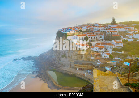 View of Azenha do Mar at sunrise. Portugal - Stock Photo