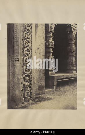 Madura. Pillars in the Recessed Portico in the Roya Gopurum with the Base of One of the Four Sculptured Monoliths; Capt - Stock Photo