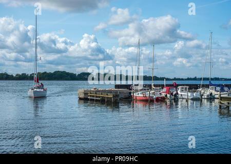 View over the harbour of Harbolle Havn on Moen Island, Denmark, Scandinavia, Europe. - Stock Photo