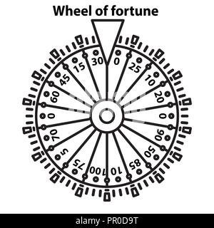 Wheel of fortune in line art style on white background - Stock Photo