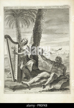 King David with his harp, together with a river god, Maphaei s.r.e. card. Barberini nvnc Vrbani pp. VIII. Poemata, Bernini, Gian - Stock Photo