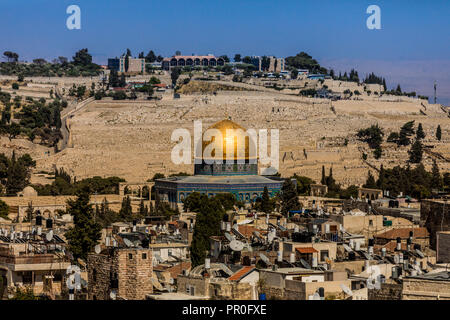 Dome of the Rock, UNESCO World Heritage Site, Jerusalem, Israel, Middle East - Stock Photo