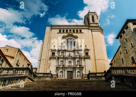 The Girona Cathedral (Cathedral of St. Mary of Girona), a Roman Catholic church, Girona, Catalonia, Spain, Europe - Stock Photo