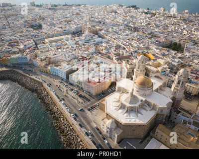 Aerial view of Cadiz Cathedral, by drone, Cadiz, Andalucia, Spain, Europe - Stock Photo