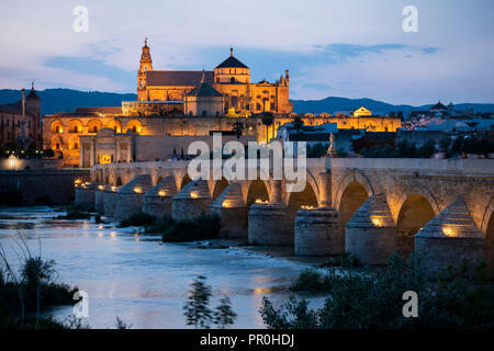 The Cathedral and Great Mosque of Cordoba (Mezquita) and Roman Bridge at twilight, UNESCO World Heritage Site, Cordoba, Andalucia, Spain, Europe - Stock Photo