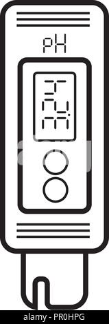 Acidity meter pH. The chemical tester. Icon of thin lines on a white background. Vector - Stock Photo