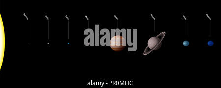 Planetary system with planets of our solar system - Sun and planets Mercury, Venus, Earth, Mars, Jupiter, Saturn, Uranus, Neptune. Spanish names. - Stock Photo