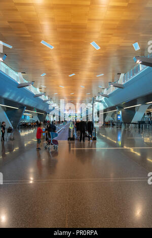 Doha, Qatar - June 2017 : Doha Hamad International Airport, Qatar. The main hall of Hamad International Airport, the international airport of Doha, th - Stock Photo