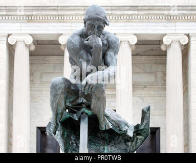 Thinker statue was bombed in Cleveland, Ohio - Stock Photo