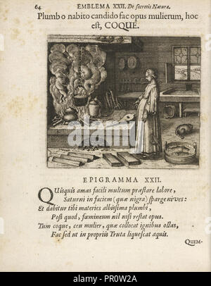 Emblema XXII: Plumb o nabito candido fac opus mulierum, hoc est, COQUE. Michaelis Majeri, Secretioris naturae secretorum - Stock Photo