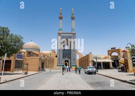 Yazd, Iran -  June 2018: Masjed-i Jame mosque in the old town of Yazd, Iran. - Stock Photo
