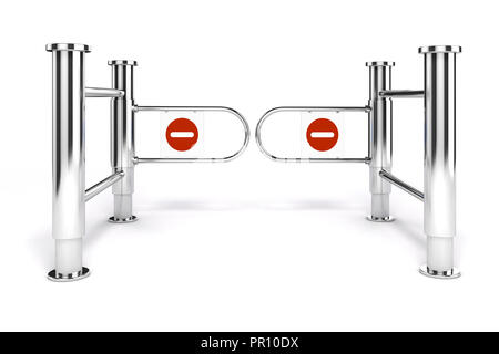 3d msll turnstile with no exit sign on white background - Stock Photo