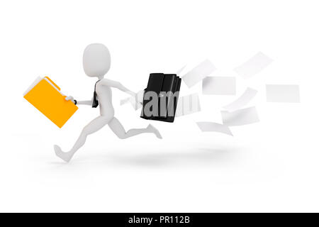 3d man businessman running on white background - Stock Photo