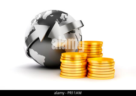 3d coins and earth planet on white bckground - Stock Photo