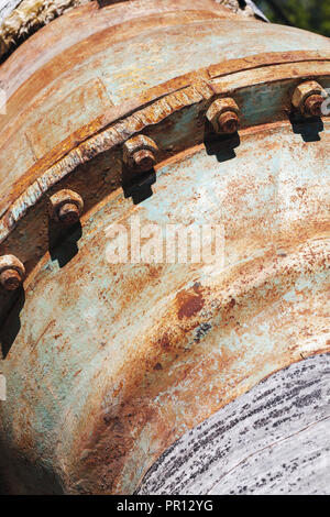 Abstract industrial pipeline fragment, rusty flange - Stock Photo