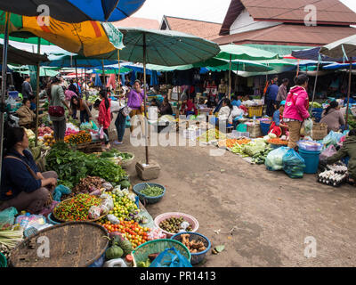 Central outdoor market, Luang Prabang, Laos, Indochina, Southeast Asia, Asia - Stock Photo