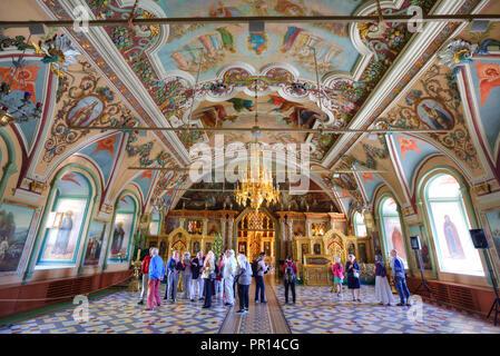 Tourists, frescoes, St. Sergius Church, Holy Trinity Saint Sergius Lavra, UNESCO World Heritage Site, Sergiev Posad, Russia, Europe - Stock Photo
