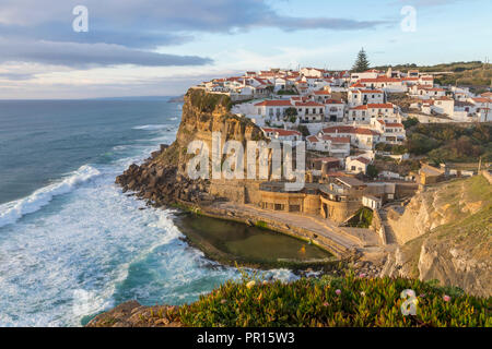 View from a lookout over the village, Azenhas do Mar, Sintra Municipality, Portugal, Europe - Stock Photo