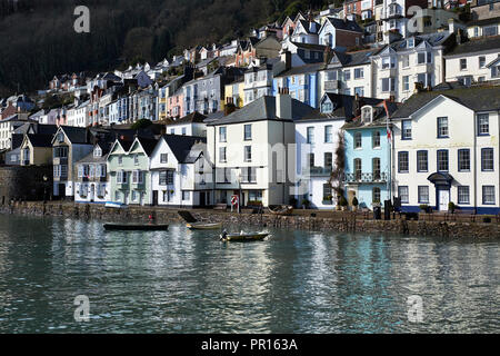 The colourful buildings and their reflections in morning sunshine at Dartmouth, Devon, England, United Kingdom, Europe - Stock Photo