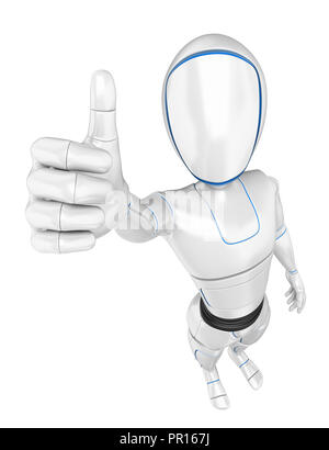 3d futuristic android illustration. Humanoid robot with thumb up. Isolated white background. - Stock Photo