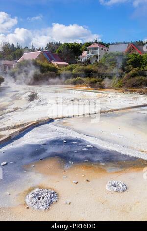 Geothermal Terraces with mineral deposit run off, Whakarewarewa thermal village, Rotorua, North Island, New Zealand, Pacific