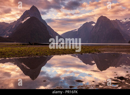 Mitre Peak and Lion Peak sunset reflections, Milford Sound, Fiordland National Park, UNESCO, Southland, South Island, New Zealand - Stock Photo